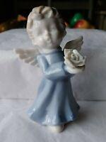 "Sanmyro Japan 3.5"" Angel Child Figurine Holding A Rose Blue Robes Dress"