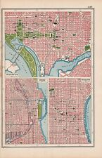 1920 MAP -POST WW1- TOWN PLANS-USA-WASHINGTON,CHICAGO,PHILADEPLPHIA