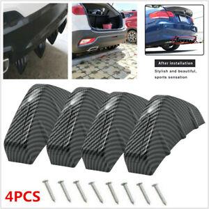 4pcs Car Rear Bumper Lip Diffuser Shark Fins Splitter Carbon Fiber fit for Buick