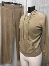 New York & Company Women's Outfit Beige Velour Jogging 2 Split Size XS & Small