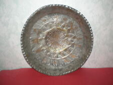 Handmade plate by copper plated tin decorated with Arabic ornaments from 19th c.