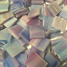 """1/2"""" WHITE INDIGO PINK - Stained Glass Mosaic Tiles (100 PIECES)"""