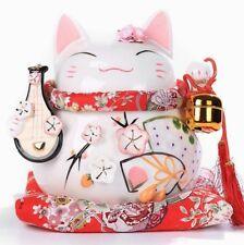 "8"" Maneki Neko Lucky Fortune Lute Cat Coin Bank Fengshui Ceramics Decor Gifts"