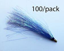 """Lot Of 100 Cot Bucktail Teaser Slider Fishing 3"""" Bulk - Blue/Mylar"""