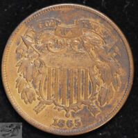 1865 Two Cent Piece, Almost Uncirculated Condition, Free Shipping in USA, C4933