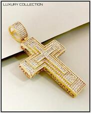 Men's 18k Gold Plated Large Cross NECKLACE PENDANT Bling Luxury Hip Hop Jewelry