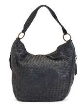 VALENTINA Denim Woven Genuine Leather Hobo Handbag Made In Italy MSRP $380