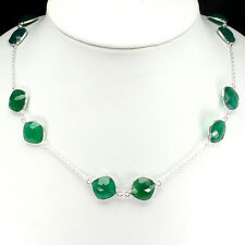 GENUINE! 159.36tcw! Brazilian Aventurine Stationed Necklace Solid S/Silver 925!