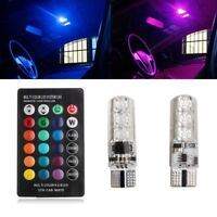 2x T10 6SMD 5050 RGB LED Car Wedge Side Light Reading Lamp Bulb+Remote Control