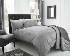 SUPER KING SIZE PEARL SILVER DUVET COVER SET GREY SLATE FAUX SILK CRINKLE BORDER
