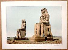 COLOSSES DE MEMNON  Thèbes en Égypte - Photochromie fin 19ème  gravure