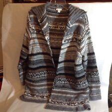 J JILL Sweater Jacket Multi Chunky Stitch Knit cardigan  Gray taupe size L