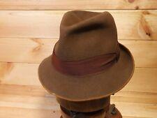 Vtg Distressed Worn Mayser Brown Fedora Trilby Felt Hat Eu 57 UK 7 US 7 1/8