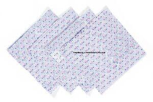 Beautiful Floral Block Print Napkin Indian Handmade 100%Cotton Table Linen 4 PC'