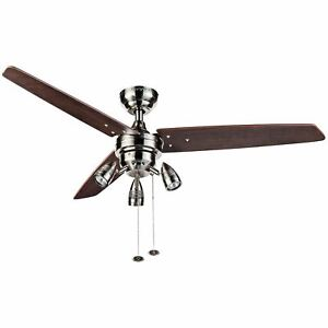 "48"" Honeywell Wicker Park Ceiling Fan, Modern 3 Light, Satin Nickel"
