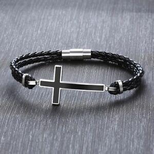 Bracciale Uomo Braccialetto in cuoio nero e croce acciaio inox - Idea regalo
