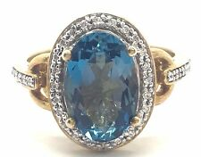 Sterling Silver Gold Tone London Blue Topaz Diamond Halo Link Band Cocktail Ring