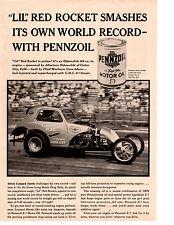 "1960 LEONARD HARRIS DRAG RACING ""LIL"" RED ROCKET  ~  ORIGINAL PENNZOIL AD"