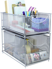 Sorbus Organizer Set -Silver Mesh Storage Organizer with Pull Out Drawers
