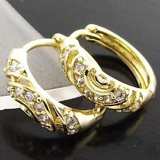 AN958 GENUINE 18K YELLOW G/F GOLD SOLID DIAMOND SIMULATED HUGGIE HOOP EARRINGS