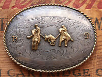 Vtg B-K Sterling Silver Front Cowboy Team Roping Western Trophy Belt Buckle