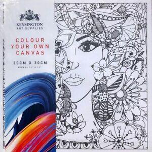 🔥 ARTIST CANVAS 30CM x 30CM ARTS CRAFTS COLOUR PAINT YOUR OWN PACK 3