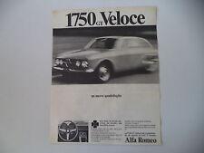 advertising Pubblicità 1968 ALFA ROMEO 1750 GT VELOCE