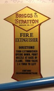 B&S Briggs engine Presto Fire Extinguisher decal