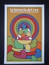 HISTORY OF RUM / Cuban Pop Art Silk-screen Movie Poster by Cuba Master REBOIRO