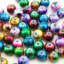 150pcs Lampwork Glass Charm Beads Fit European Bracelet Beads 8mm