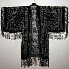 Wide Sleeved All Black Rose Velvet Hand Made Kimono for Men & Women