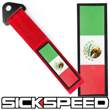 RED STRENGTH TOW STRAP MEXICO FLAG FRONT REAR BUMPER HOOK FOR CAR P11