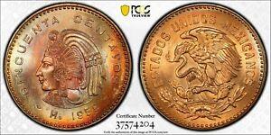 1959-Mo MEXICO 50 CENTAVOS PCGS MS65RB COLOR TONED #2 HIGHEST GRADE WORLDWIDE