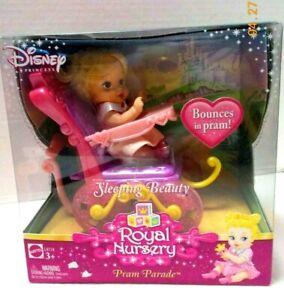 Disney Princess SLEEPING BEAUTY Royal Nursery PRAM PARADE TOY- 2007 Mattel- New