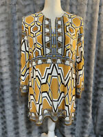 Chico's Gold & Brown Geometric Print Tunic Top Women's Size 1