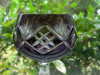 "Cut to Clear Amethyst Crystal Wine Hock Glass 8"""