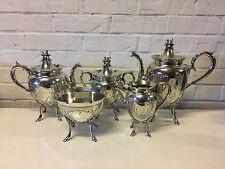Antique Wilcox Silver Plated 5 Piece Tea Set w/ Bird In Nest Finial & Hoof Feet