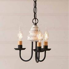 Vintage White Bellview Small Country Kitchen Wood Chandelier Light by Irvins