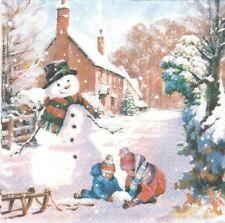 2 Serviettes papier Noël enfant Hiver Decoupage Paper Napkins Winter Countryside