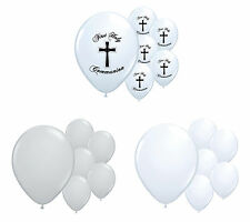 30 X 1ST HOLY COMMUNION WHITE & SILVER HELIUM QUALITY BALLOONS PARTY DECORATIONS