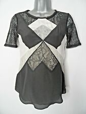 KAREN MILLEN Silk Contrast Top Size UK6 Black White Nude Evening