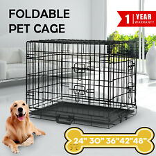 Collapsible Pet Dog Cage Portable Wire Metal Crate Kennel Puppy Cat Rabbit House