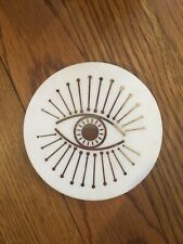 ONE Anthropologie Cassiopeia Evil Eye Marble Coaster Ancient Symbol Gold Stone
