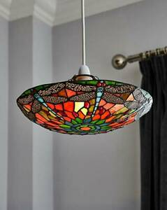 """14"""" Tiffany Style Mitcham Easy Fit Non Electrical Pendant Glass Uplighter Shade"""