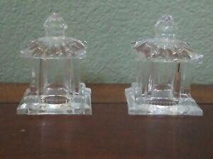 Shannon Godinger Pagoda Asian Salt & Pepper Shaker 24% Lead Crystal Set