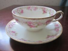 Haviland Limoges small teacup and saucer, pink roses #2