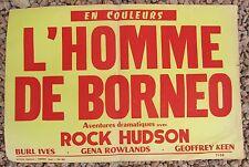 ANCIENNE AFFICHE CINEMA L'HOMME DE BORNEO ROCK HUDSON