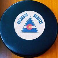 1981-82 COLORADO ROCKIES VINTAGE NHL VICEROY CANADA OFFICIAL GAME USED PUCK RARE