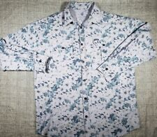 Rocawear Mens Blue Chambray Floral Button Up sz 3XL
