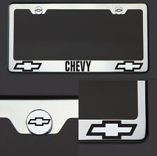 New Chrome T304 License Plate Frame Tag Chevy Black Letter Laser Etched Engraved